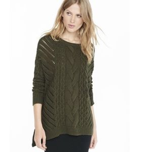 Express Small olive green cable sweater